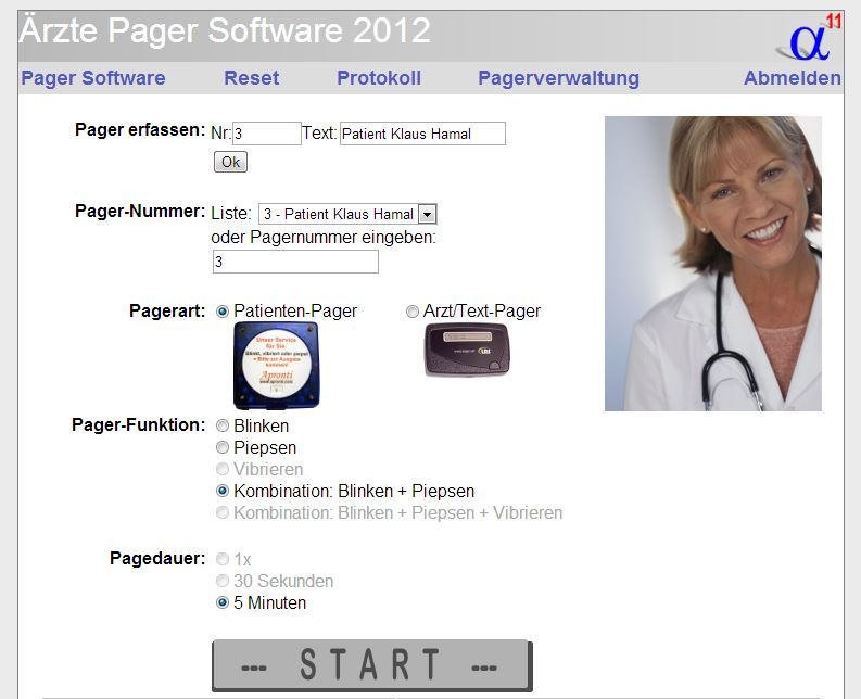Arzt-Software Pagersoftware Alpha11